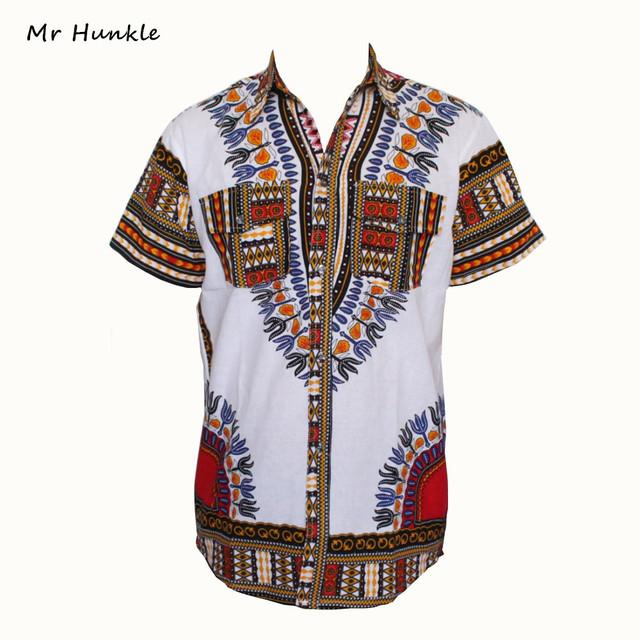 2016 Nueva Moda Africana Tradicional de Impresión de Algodón camisa Dashiki para unisex Mujeres Africano Dashiki Camisa de Manga Corta