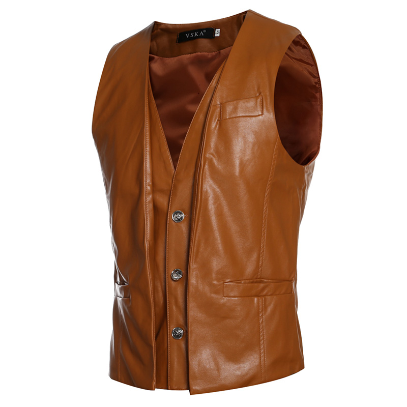 2018 Fashion PU Leather Jacket Men Punk V Neck Mens Faux Leather Sleeveless Waistcoat Trend Slim Fit Motorcycle Vest Jacket Male