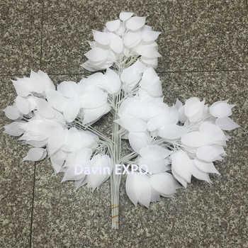 24 pcs ตกแต่งพืชผ้าไหมสีขาวใบพืชประดิษฐ์ตกแต่งบ้านใบงานแต่งงาน arch vintage อุปกรณ์ - DISCOUNT ITEM  11% OFF บ้านและสวน