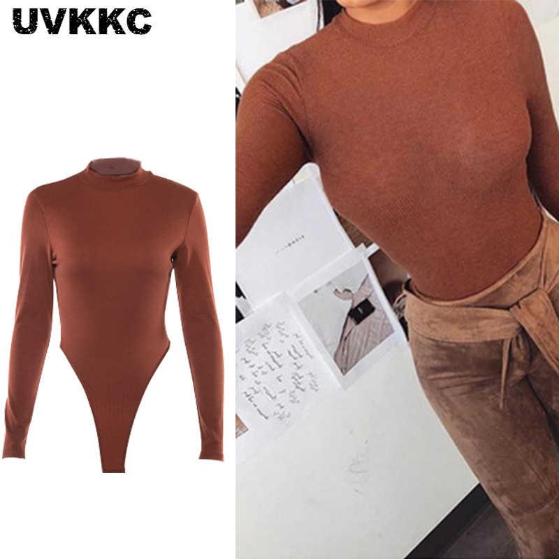 Uvkkc Long Sleeve O Neck Sexy Bodysuits Women Silm Solid Playsuits 2019  Spring Fashion Femme Bodysuit b7707ff0f9a4