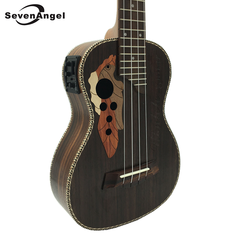 SevenAngel 23 inch Concert Electric Acoustic Ukulele Grape Sound Hole 4 Strings Hawaiian Guitar Rosewood ukelele with Pickup EQ