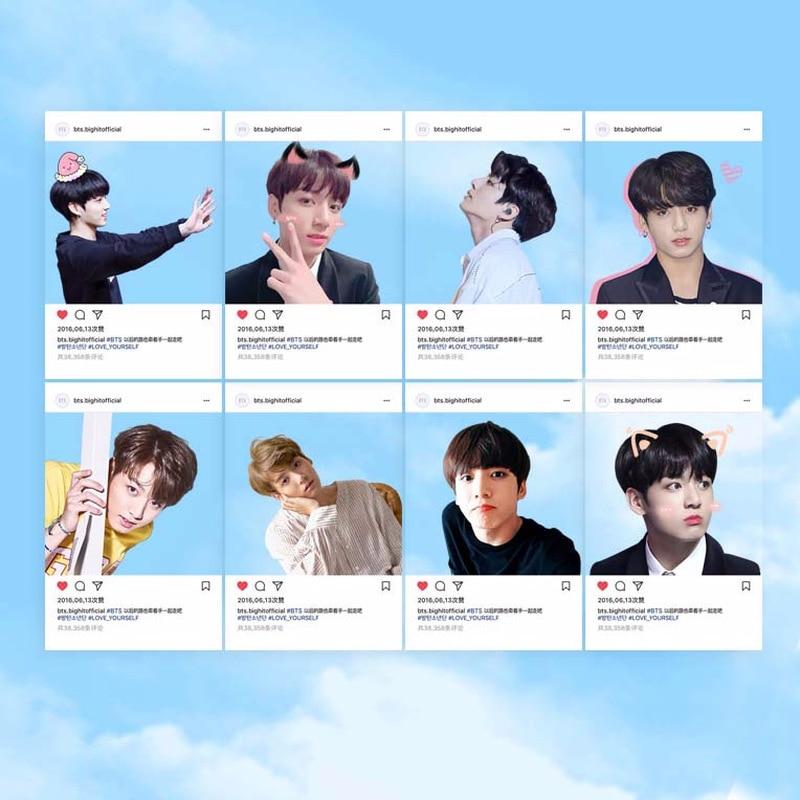 US $1 85 40% OFF 2019 New SGDOLL Kpop BTS Muster PVC Transparent Cards  Bangtan Boys Ins Screenshot Jinmin V Jungkook Photo LOMO Card Books 8Pcs on