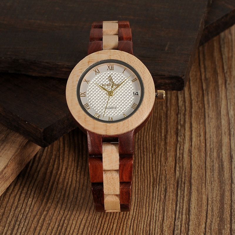 BOBO BIRD Rose SandalWood Elegant Minimal Wooden Watch For Women 8