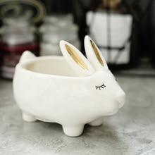ceramic creative Golden bunny bowl home decor crafts room decoration porcelain animal figurine cute rabbit storage tray Key