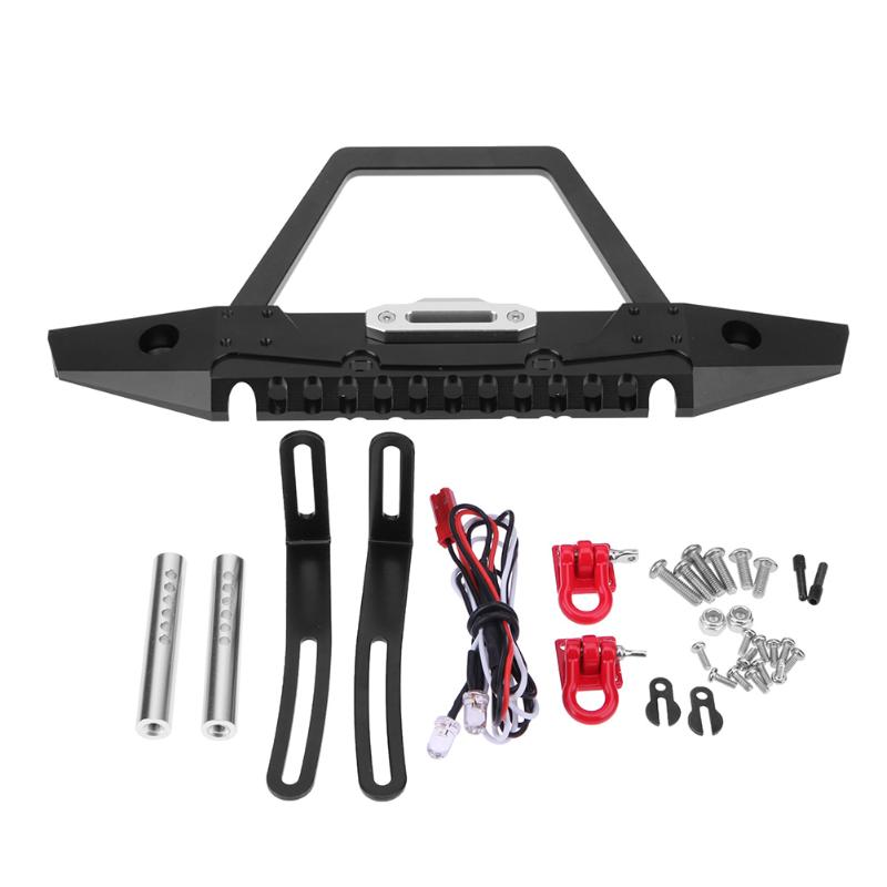 RC Crawler Truck Metal Front Bumper with Lights for AXIAL SCX10 Car Parts Accessories rc truck front bull bar front bull bar metal bumper light defender for 1 10 rc4wd d90 axial scx10
