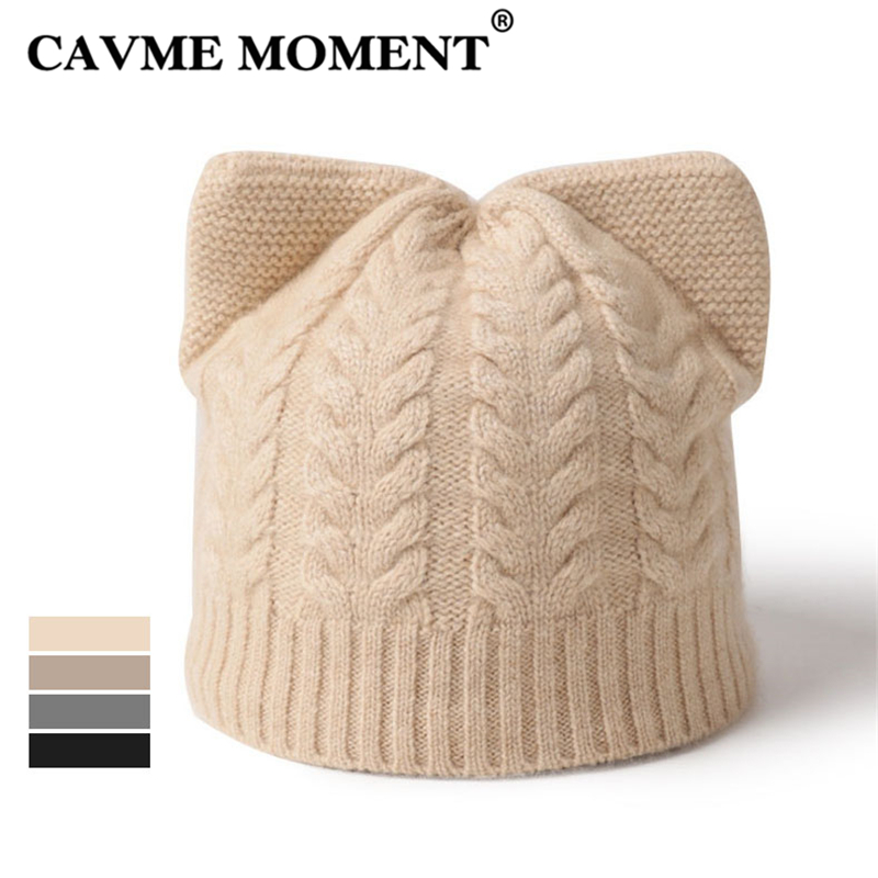 CAVME 100% Cashmere   Skullies     Beanies   Hat for Women Ladies Cashmere Knitted Hat Solid Winter Warm Casual Black Gray Beige Khaki