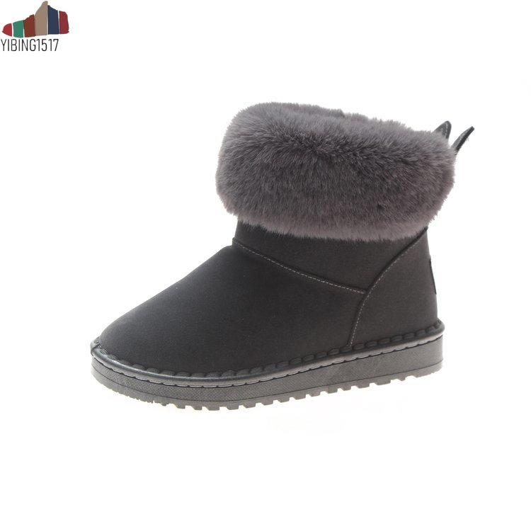 Women Boots Genuine Leather Real Fox Fur Brand Winter Shoes Warm Black Round Toe Casual Plus Size Female Snow Boots 21
