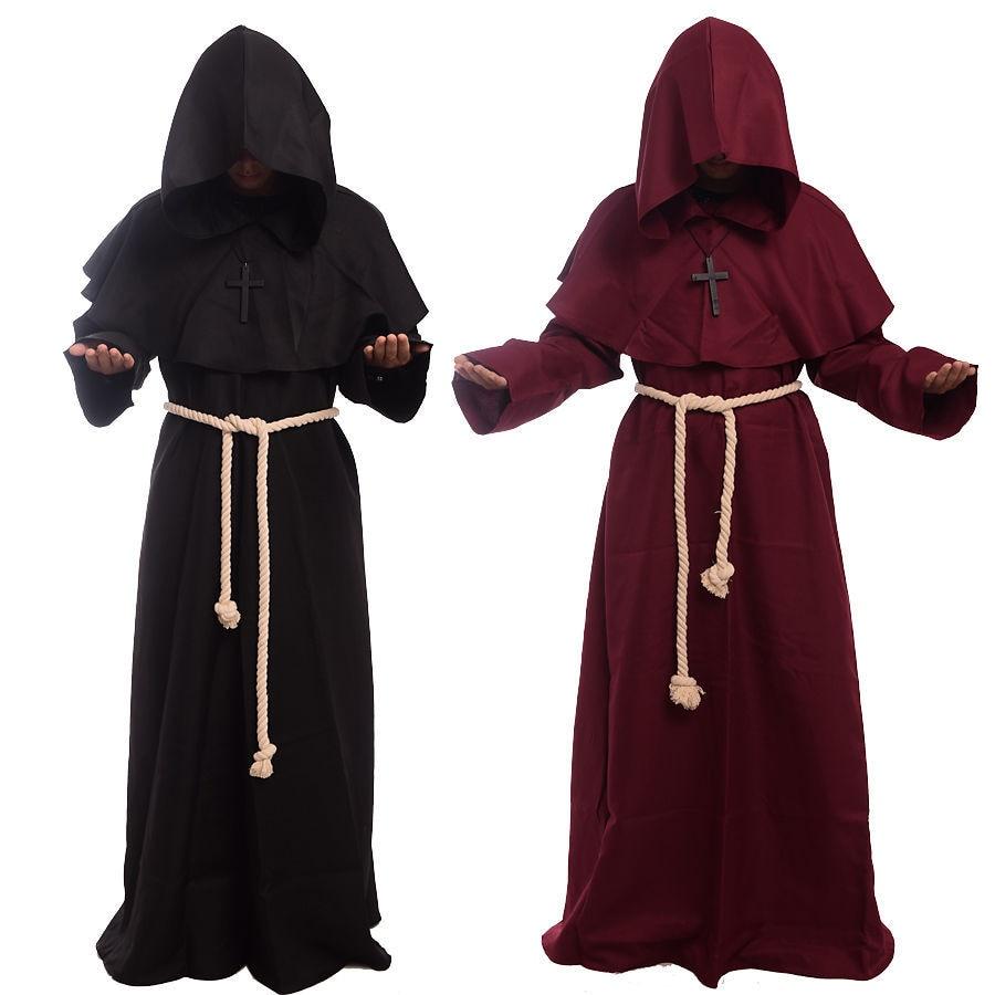 Brezplačna dostava Hot Friar Srednjeveški plašč s kapuco Monah - Karnevalski kostumi