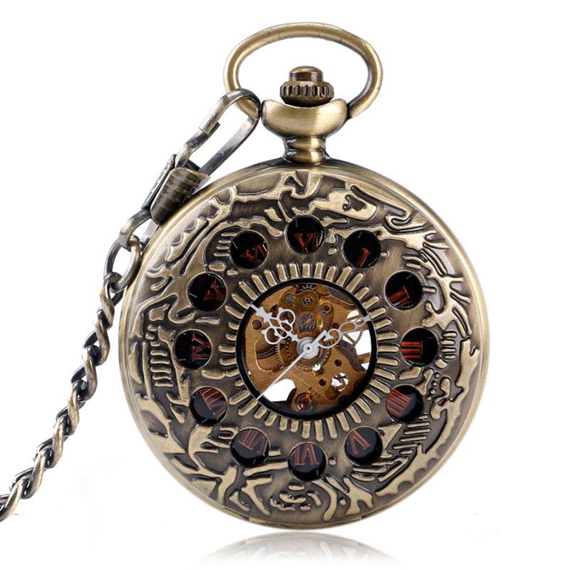 ᐂ2016 hombres mujeres bronce antiguo mano mecánica agujero medio ...