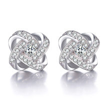 Kobieta moda biżuteria srebrne kolczyki pani miłość wieczne serce moda super flash biżuteria kryształowa fabryka hurtownia jakości