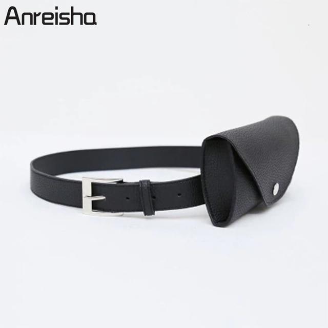 Anreisha Fashion Women Waist Bag Quality PU Leather Belt Bag Pack Female Travel Vintage Waist Pouch Fanny Pack Newest Phone Bags