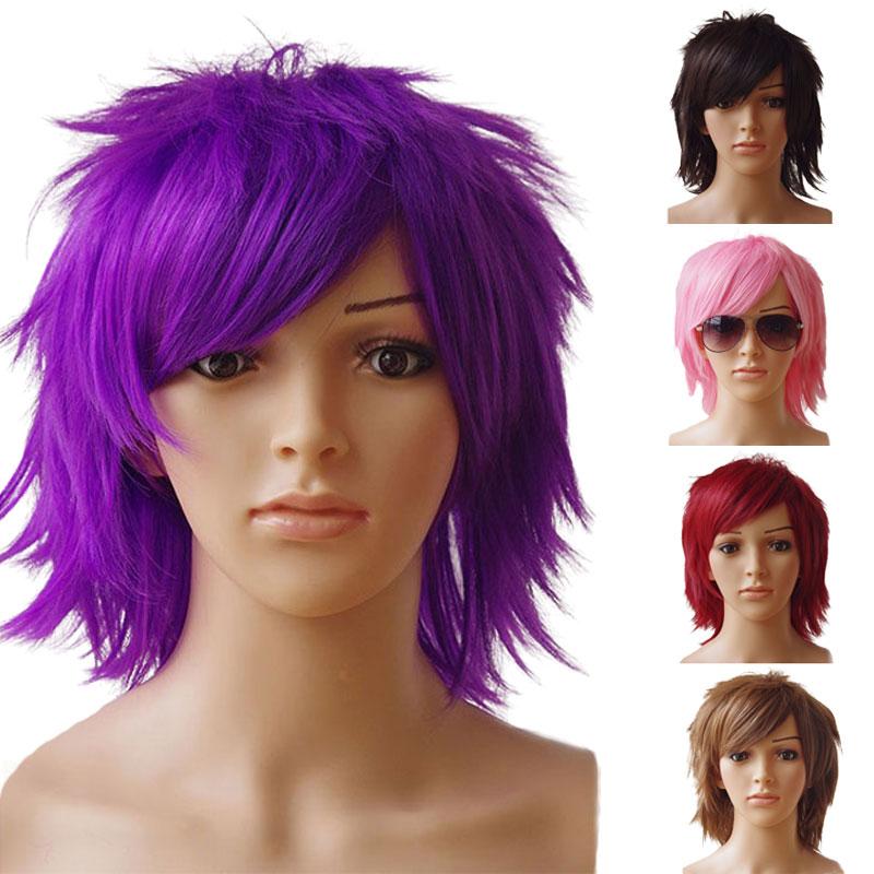 Snoilite химическое Косплэй короткий парик фиолетовый Хеллоуин костюм вечерние платье Искусственные парики для Для женщин Для мужчин термосто...