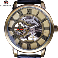 Forsining Steampunk Classic Bronze Design Transparent Case Back Mens Skeleton Watch Top Brand Luxury Male Mechanical