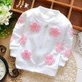 2016 детская одежда весна девушки Дети бренд хлопка пальто для детей девушки цветы кардиган детская одежда спортивная куртка верхняя одежда