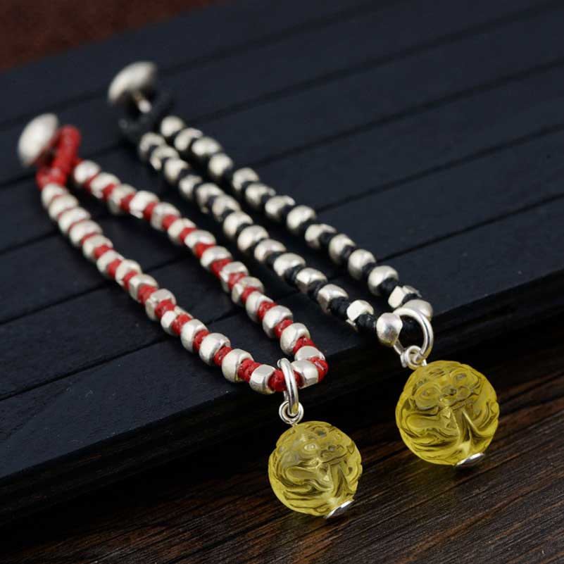FNJ 925 Silver Bracelet Bead 18.5cm Chain Black Red String Pixiu Charm Thai S925 Silver Bracelets for Women Jewelry candy coloured string hand chain bracelets