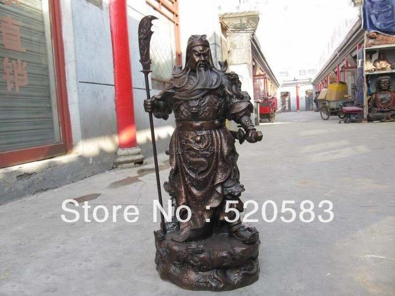 29 Large Chinese Bronze Copper Nine Dragon Guan Gong Guan Yu warrior Statue
