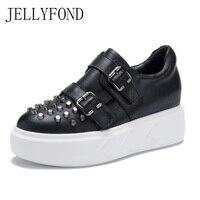 Черный Пояса из натуральной кожи Заклёпки шпильки Женская обувь на платформе 2018 оригинальный дизайнерский Туфли с ремешком и пряжкой из во