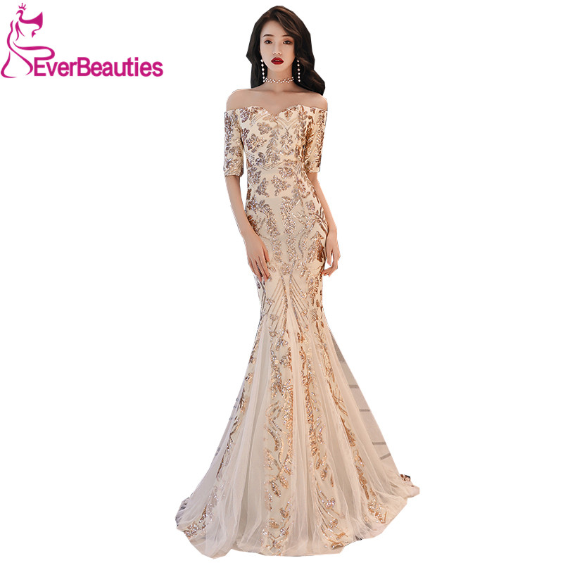Evening Dresses Long 2019 Sexy Backless Sequins V Neck Tulle Evening Gowns Party Gowns Robe De Soiree Party Long Dresses Elegant