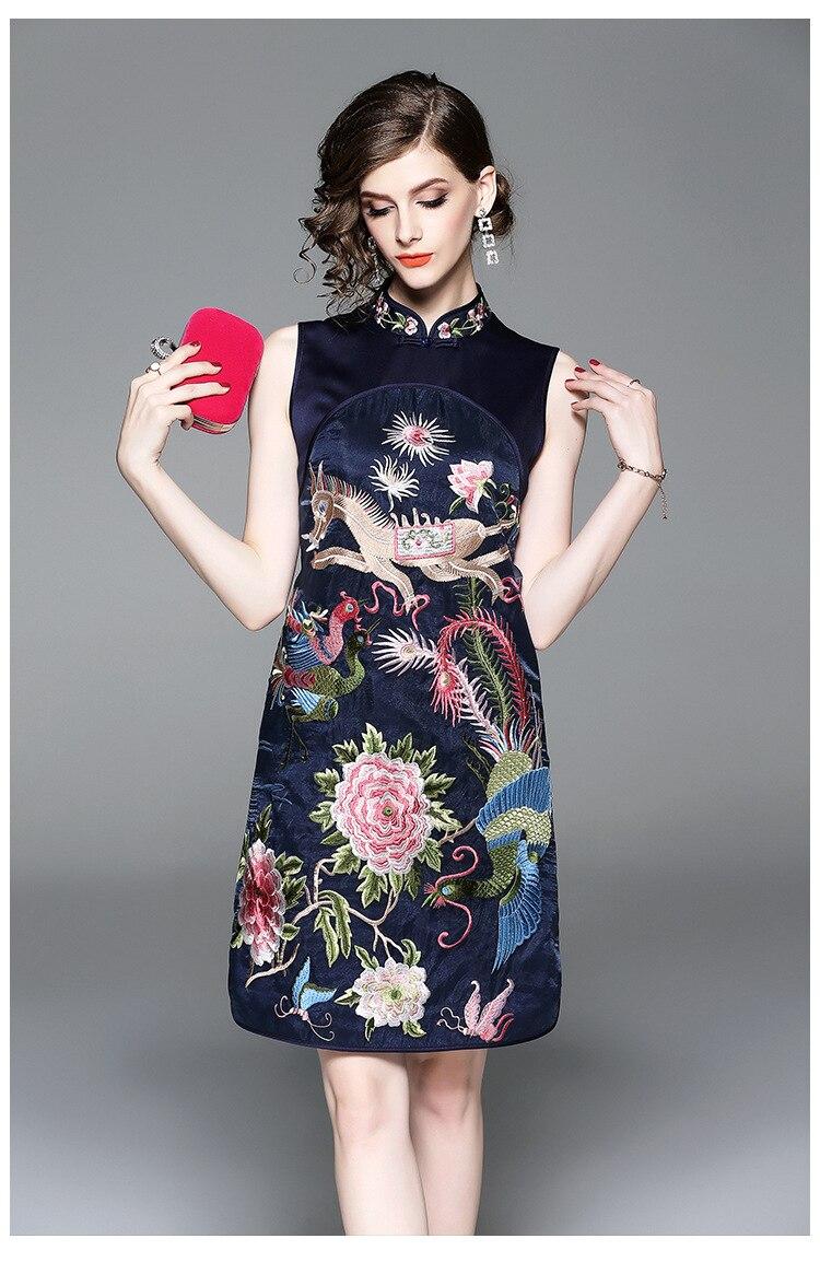>autumn <font><b>new</b></font> fashion original design <font><b>Chinese</b></font> <font><b>style</b></font> peacock Embroidered big size cheongsam sleeveless dress with silk for women
