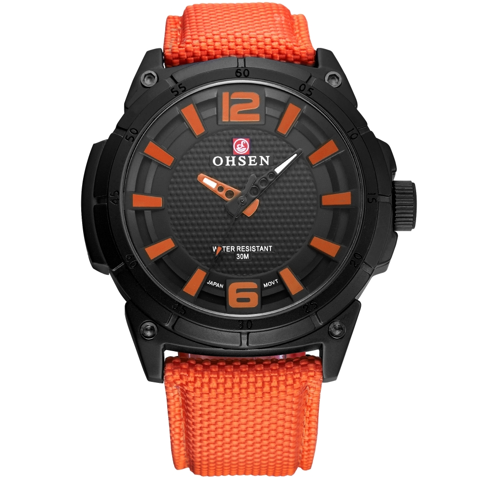 OHSEN Brand Men Watch Outdoor Sport Design Analog Quartz Movement Clock Orange Leather Strap Relogio Masculino Wristwatch/OHS248 ohsen 2821 sport quartz watch blue