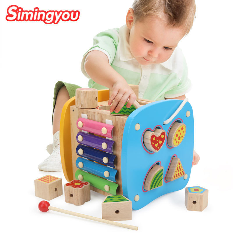 Simingyou Wooden Toys Brinquedos De Puzzle Aprendizagem Multifunctional Music Box Baby Toys C20-E11 Drop Shipping antique carved music box game of thrones music box star wars wooden hand crank theme music caixa de musica