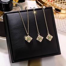 Fashion Square Necklace And Earrings For Women 2019 New Gold Color Simple Jewelry Sets Birthday Gifts a suit of graceful solid color flower necklace and earrings for women