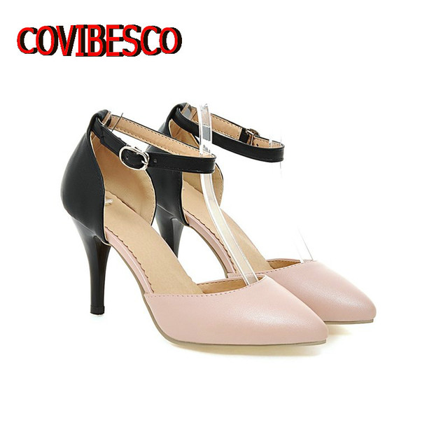 Black White Pink Women Sexy Pointed Toe Pumps Fashion Buckle Thin High Heels Summer Evening Party Wedding Shoes Ladies Pumps