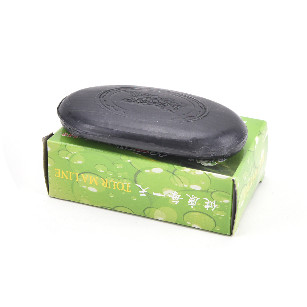 1PCS Active Energy Black Anti Bacterial Bamboo Charcoal Soap Face Body Clear Tourmaline Soap