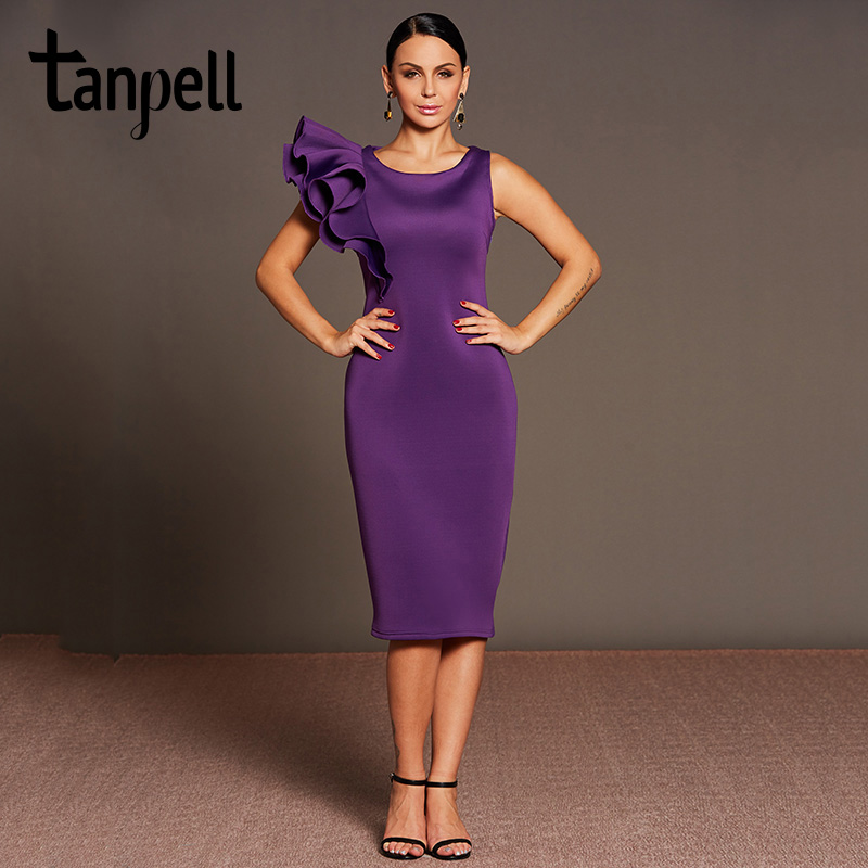 Tanpell ruffle sleeves cocktail dress purple o neck tea length ...