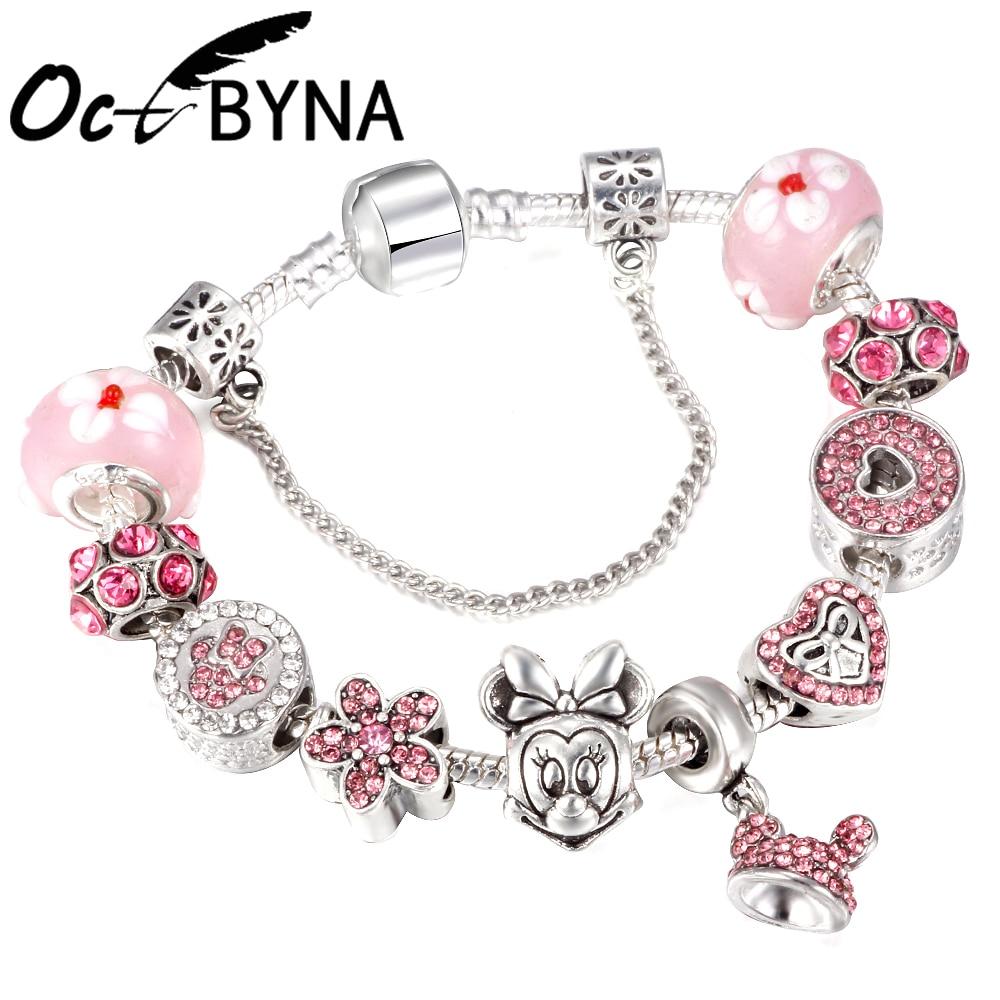 OCTBYNA dessin animé chaud Mickey Minnie rose charme Bracelets pour femme enfant Murano perles belle marque Bracelets et Bracelets bijoux