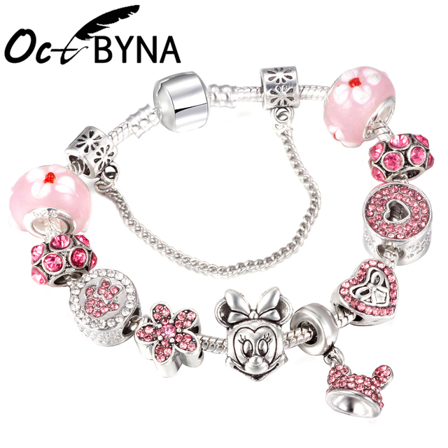 513248d78 OCTBYNA Hot Cartoon Mickey Minnie Mouse Pink Charm Bracelets For Women Kid  Murano Beads Lovely Pandora Bracelets&Bangles Jewelry