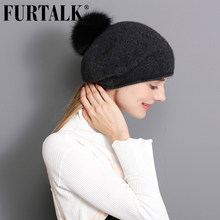 FURTALK 100% Chapéu de Lã de Cashmere Mulheres Inverno Quente Desleixo Boina  Chapéu do Inverno Russo ffcb5eede9a