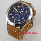 Parnis 47 мм мужские часы с запасом хода черный циферблат желтые метки светящиеся большая корона ST2 ①