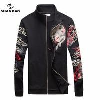 SHAN BAO merk persoonlijkheid kraag rits jas populaire Chinese wind dragon patroon afdrukken borduren mannen wit zwart jasje