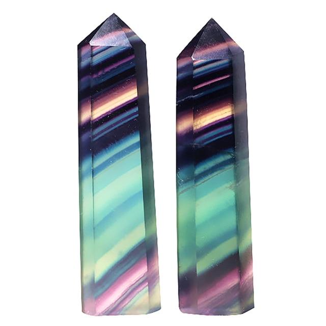 Fluorite de pierre dorigine naturelle chaude Six prismes ornements de Fluorite coloré Fluorite violet Fluorite vert Six prismes
