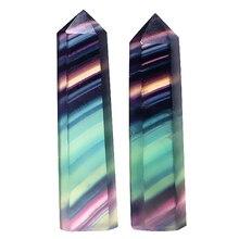 Heißer Natürliche Original Stein Fluorit Sechs Prismen Bunte Fluorit Ornamente Lila Fluorit Grün Fluorit Sechs Prismen