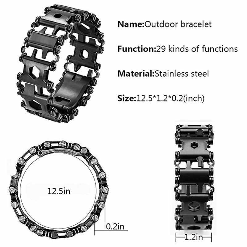 Survie Multi outils portable 29 en 1 Bracelet en acier inoxydable Bracelet multi-fonction tournevis extérieur Kits d'urgence Multitool