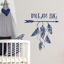 YOYOYU Wall Decal Boho Nursery Decals Quote Sticker Vinyl Repetable Dream Big Decor Arrow YO094