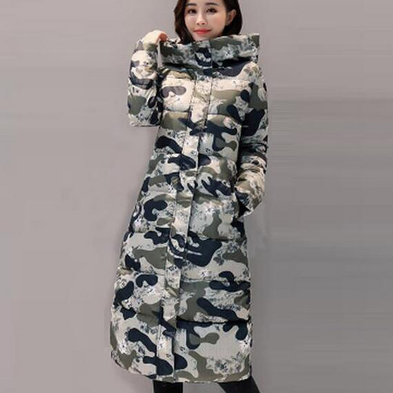 Women Winter Hooded Padded Print Long Cotton Coat Woman Outerwear Thick Casual Wadded Jacket Female Parkas Cotton Coats PW1002 jolintsai winter coat jacket women warm fur hooded woman parkas winter overcoat casual long cotton wadded lady coats