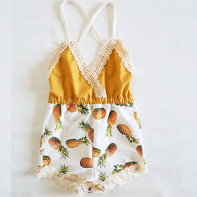 2017 New Summer Toddler Kids Baby Girls Strap Sleeveless  Romper Jumpsuit Pants Outfit Clothes Lace girls in pants third summer
