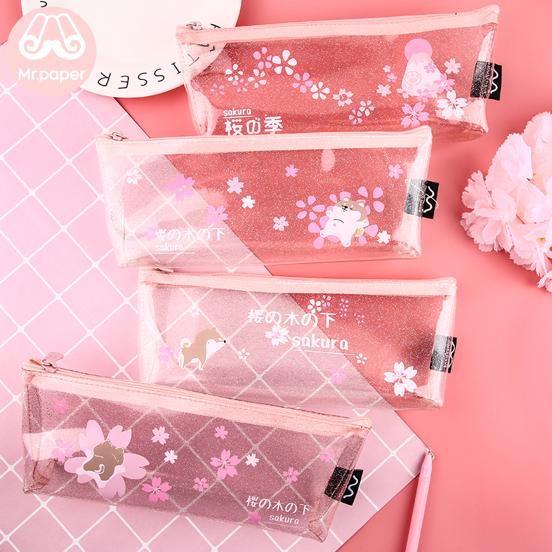 Mr.Paper 4 Designs Pink Cherry Blossom Shiba Inu Transparent Pencil Bags School Case Creative Student Large Size Pencil Bags