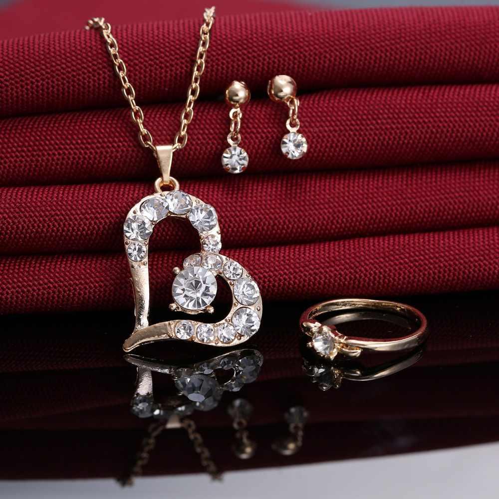โรแมนติกหัวใจชุดเครื่องประดับจี้สร้อยคอสำหรับสาวงานแต่งงานสาวหมั้นเครื่องประดับของขวัญ
