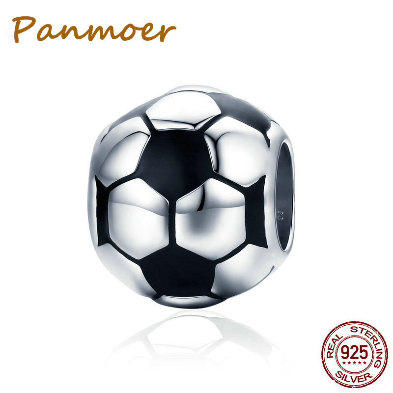 925 Sterling Silver Sport Football Love Ball Charm Beads fit pandora charms Original Women Bracelet & Necklaces Jewelry SCC666