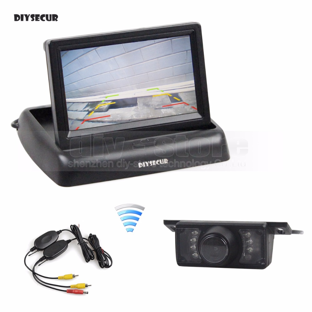 все цены на DIYSECUR Wireless 4.3 inch Foldable Car Monitor Reversing Camera Kit Back Up HD Car Rear View Camera IR Night Vision