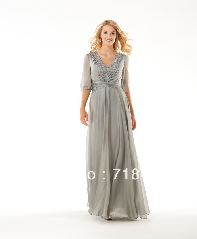 Wedding Principal Sponsors Gown: New Arrival Sliver Mother Of Bride Dress Half Sleeve