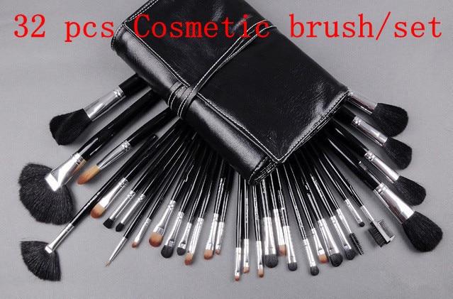 Big Discount ! 32 pcs Makeup Brush Kit Makeup Brushes + Black Leather Case, Free Shipping #pc32-02 big discount 32 pcs cosmetic facial make up brush kit makeup brushes tools set black leather case free shipping