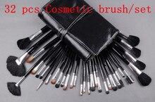 Big Discount ! 32 pcs Makeup Brush Kit Makeup Brushes + Black Leather Case, Free Shipping #pc32-02