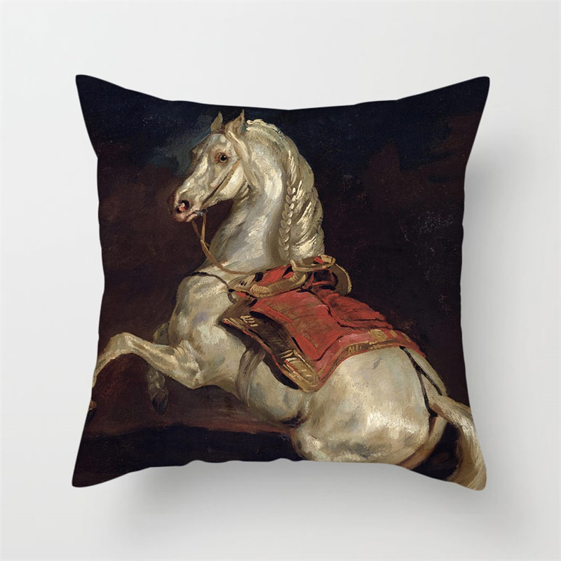 Fuwatacchi Oxen Horses Throw Pillow Cover Animal Oil Painting Cushion Cover For Home Car Chair Decorative Pillowcases 2019