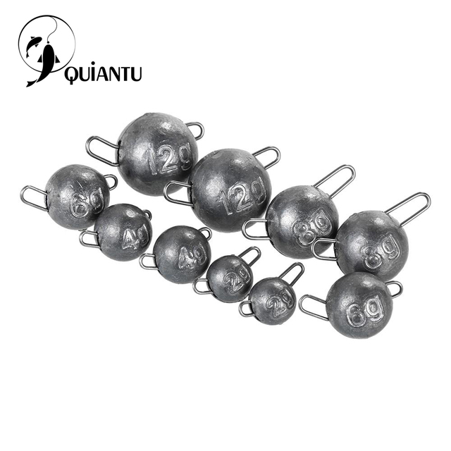QUIANTU 10Pcs/lot Lead hook 2g 3g 5g 8g 10g 12g Jig Head Lead Deep Water Bullet Weight Soft Lure Baits Texas Fishing Accessories