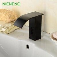NIENENG sensor faucets black bathroom sink faucet cold water basin mixer restaurant tap automatic hospital taps fitment ICD60239